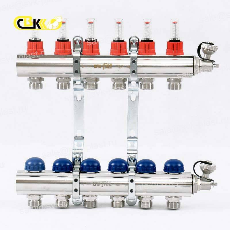 UF collector group with flow meters and thermostatic valves, brass