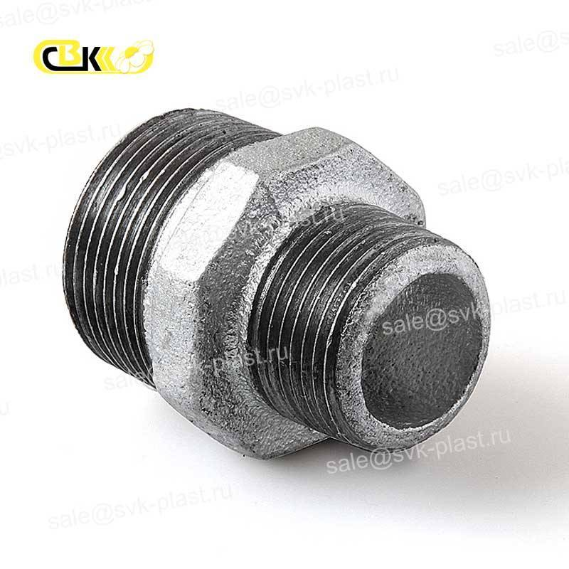 The nipple is cast iron galvanized transition HP