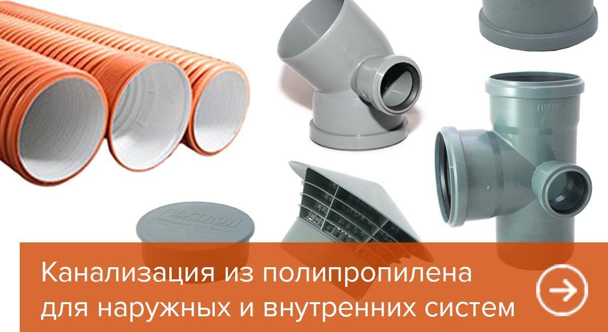 Sewage system made of polypropylene for interior and exterior systems
